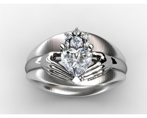 Custom Calddagh Engagement Ring Diamond