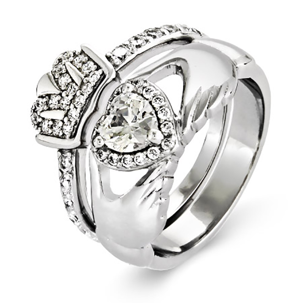 Claddagh Engagement Ring Meaning: stelring calddagh engagement ring deisgn