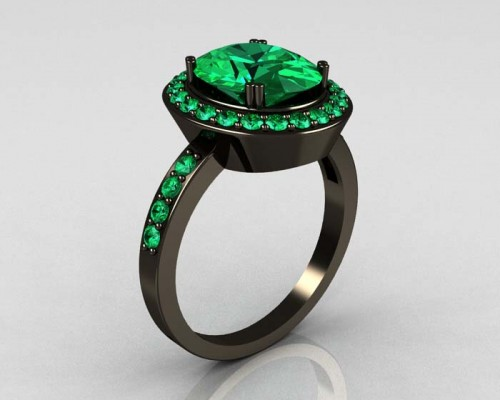 Black Emerald Engagement Ring Design