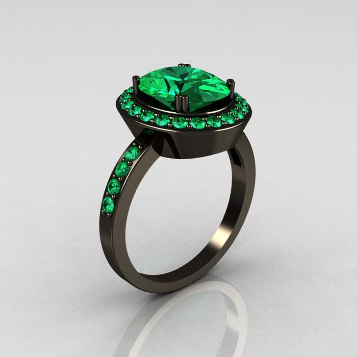 Emerald Engagement Rings Vintage: Black-emerald-engagement-ring-design