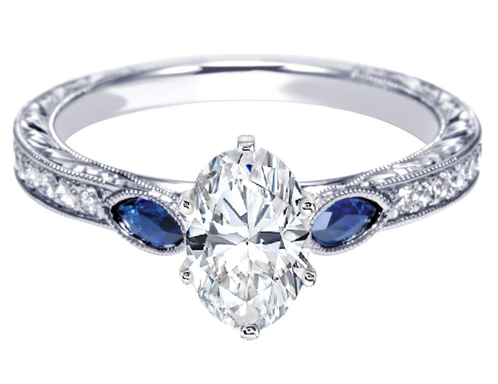 Engagement Rings Gallery Antique Diamond And Sapphire Engagement