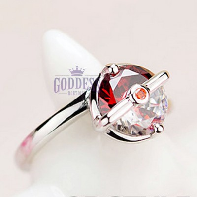 Antique Pokemon Engagement Ring Red