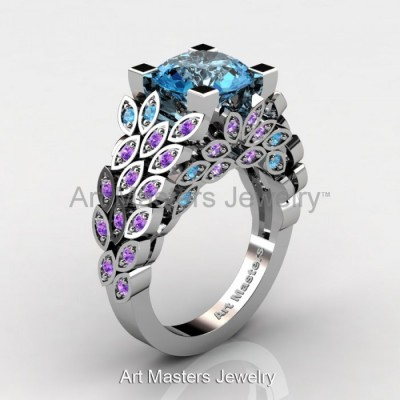 Art Blue Topaz Engagement Rings Masters