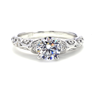 Art Filigree Engagement Rings White