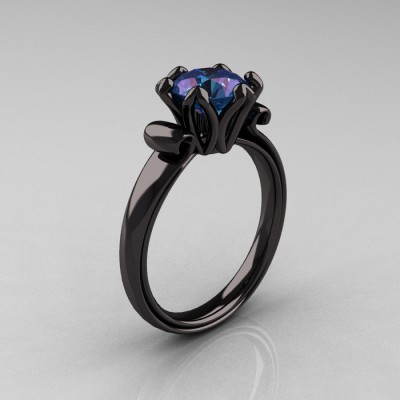 Black Alexandrite Engagement Ring Gold