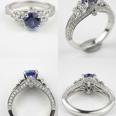 Blue Colored Engagement Rings Beauty