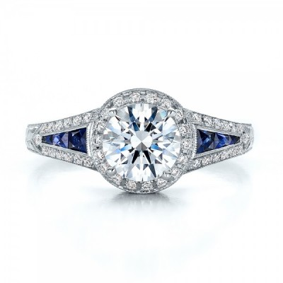 Blue Diamond And Sapphire Engagement Rings Halo