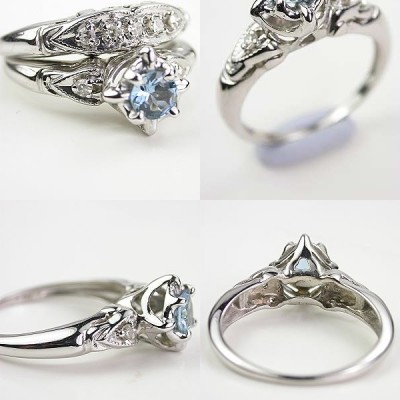 Blue Filigree Engagement Rings Eyes