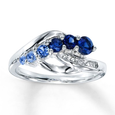 Blue Lab Created Diamond Engagement Rings Sapphire