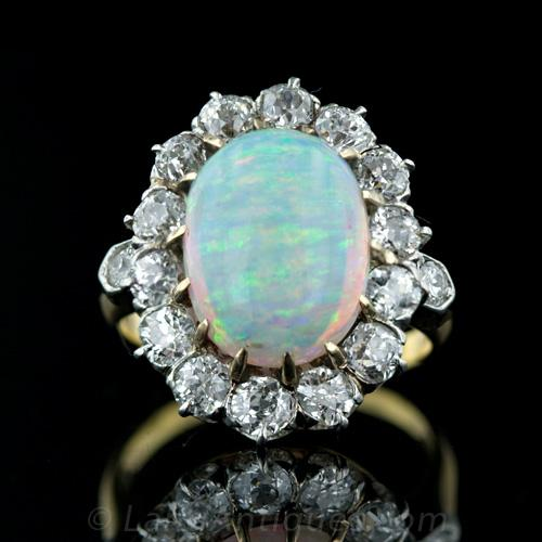 Opal Engagement Ring Set: blue opal engagement ring antique