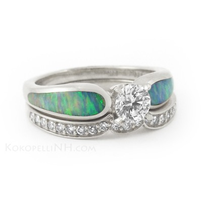 Blue Opal Engagement Ring Colored