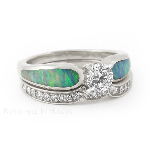 Opal Engagement Ring Set: Blue Opal Engagement Ring Colored