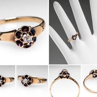 Brown Victorian Engagement Rings Colored
