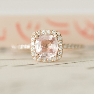 Certified Peach Sapphire Engagement Rings Pink