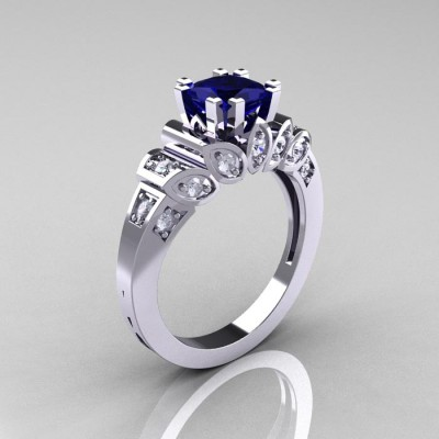 Classic Diamond And Sapphire Engagement Rings French
