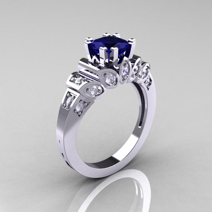 Diamond and Sapphire Engagement Rings Ebay: classic diamond and sapphire engagement rings french