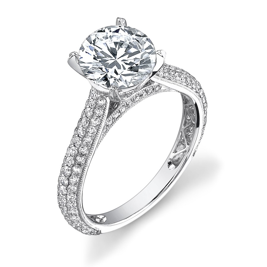 Pave Engagement Rings Meaning: classic pave engagement rings halo