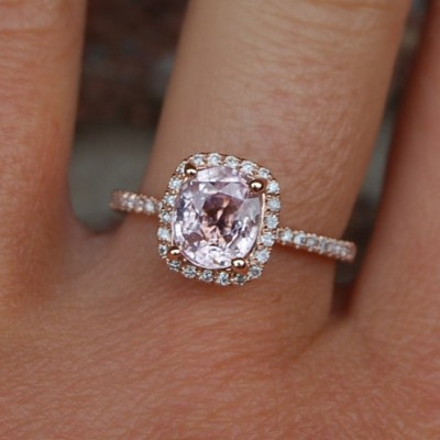 Cushion Peach Sapphire Engagement Rings Lavender