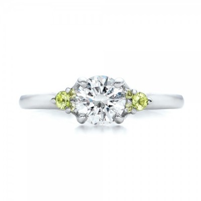 Custom Peridot Engagement Rings Diamond