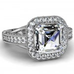 cut asscher cut engagement ring halo