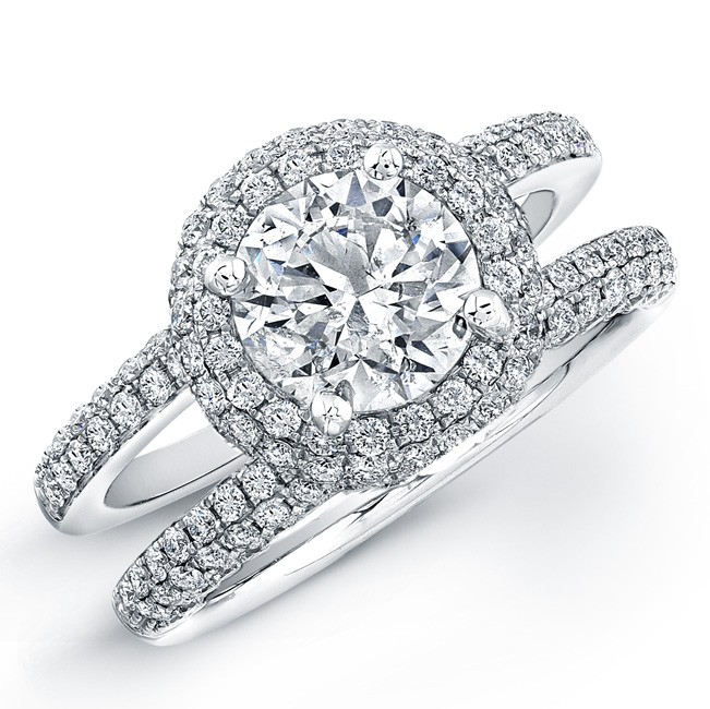 Pave Engagement Rings Meaning: double pave engagement rings pearl