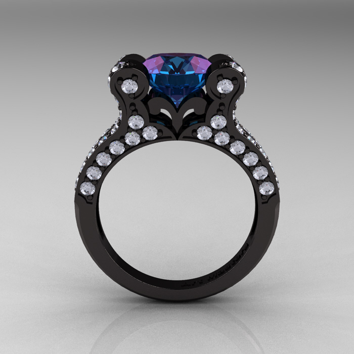 Alexandrite Engagement Ring Meaning: french alexandrite engagement ring vintage