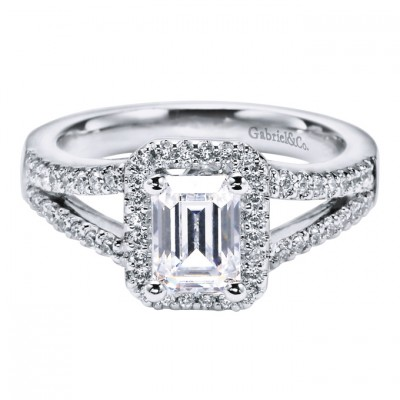 Gabriel Emerald Cut Engagement Ring Design