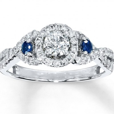 Glamor Diamond And Sapphire Engagement Rings Pearl