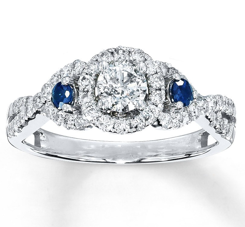 Relatively Engagement Rings Gallery: Glamor Diamond And Sapphire Engagement  QJ49