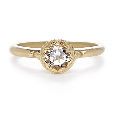 Gold Bezel Engagement Ring Pure