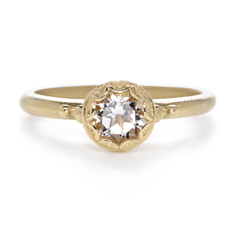 Bezel Engagement Ring Meaning: gold bezel engagement ring pure
