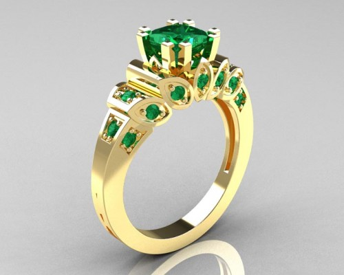 Gold Emerald Engagement Ring Produce