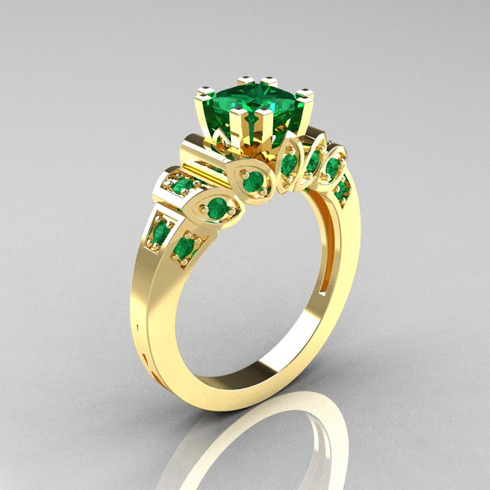Emerald Engagement Rings Vintage: gold-emerald-engagement-ring-produce