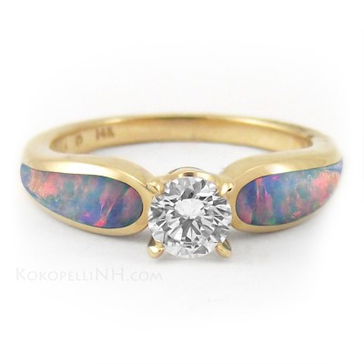 Gold Opal Engagement Ring Round