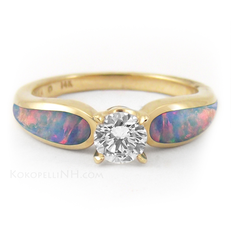 Opal Engagement Ring Set: gold opal engagement ring round