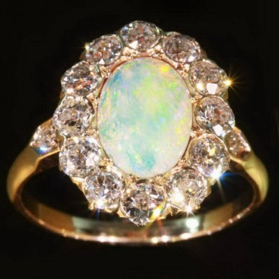 Gold Opal Engagement Ring Unique
