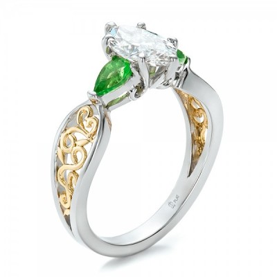 Gold Peridot Engagement Rings Eye
