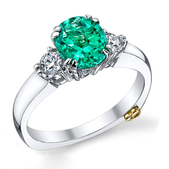 Colored Engagement Rings Trend: green colored engagement rings design