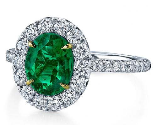 Green Emerald Engagement Ring Modern