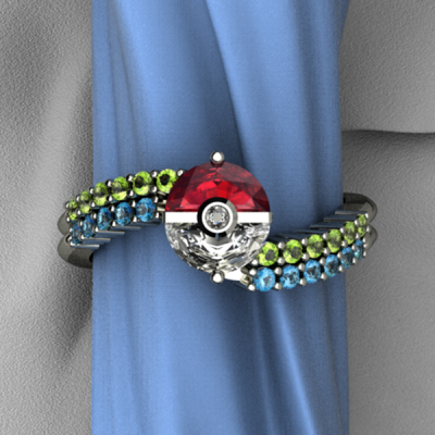 Green Pokemon Engagement Ring And Blue