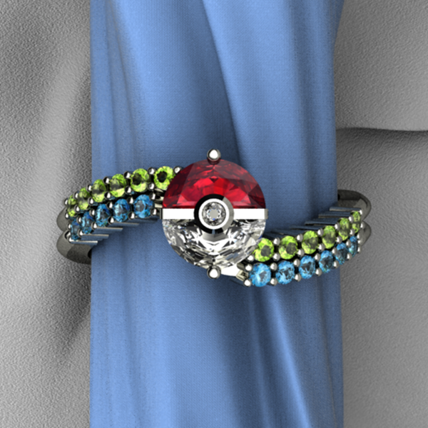 Pokemon Engagement Ring Box: green pokemon engagement ring and blue