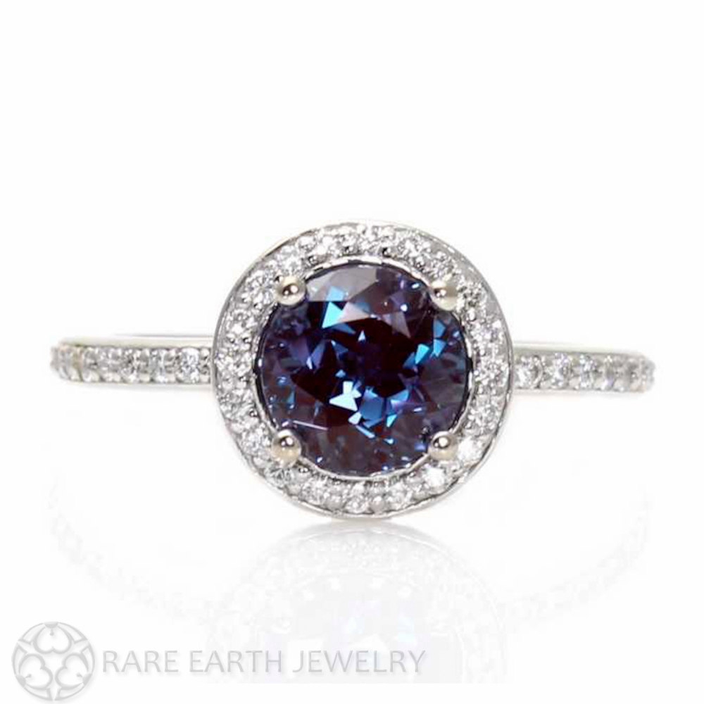 Alexandrite Engagement Ring Meaning: halo alexandrite engagement ring popular