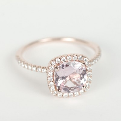 Halo Peach Sapphire Engagement Rings Design