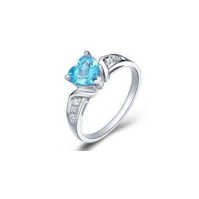 Heart Blue Topaz Engagement Rings Shaped