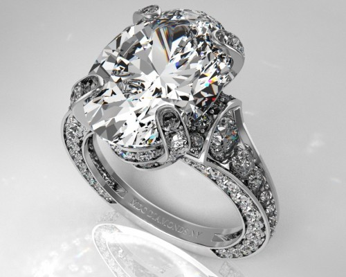 Large Pave Engagement Rings Oval