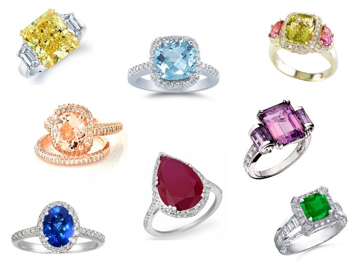 Colored Engagement Rings Trend: many colored engagement rings types