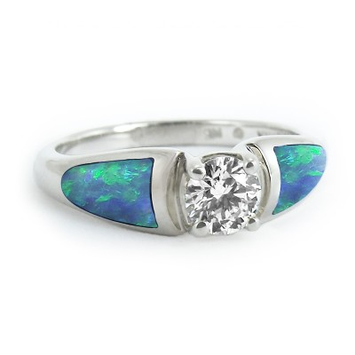 Moonlit Opal Engagement Ring Sea