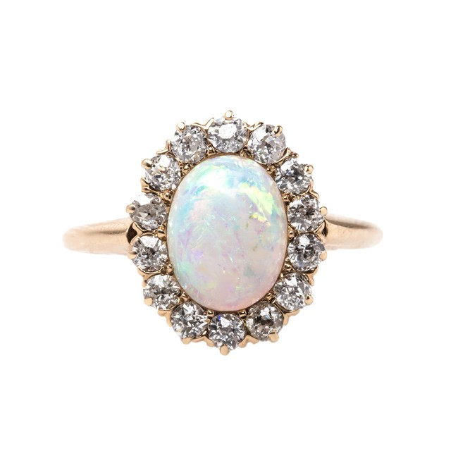 Opal Engagement Ring Set: opal victorian engagement rings style