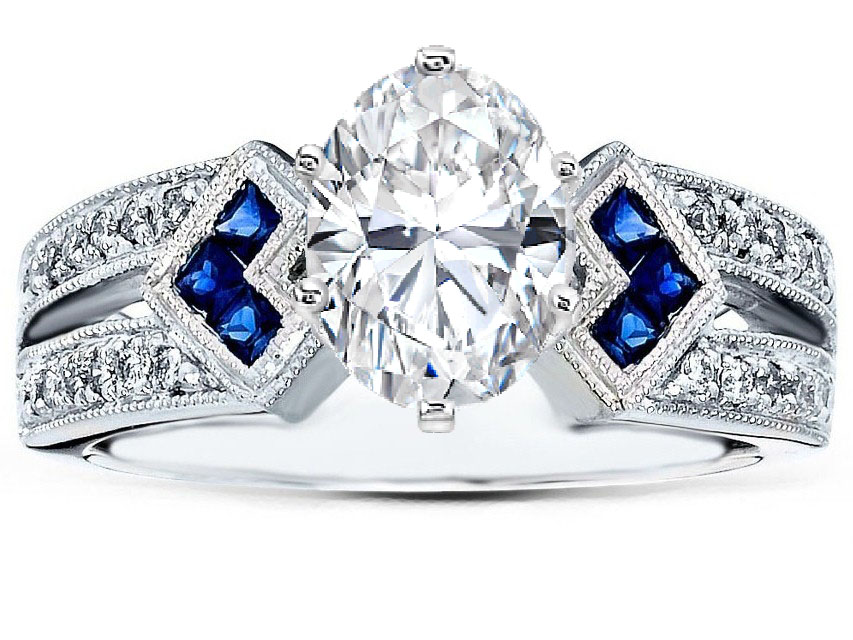 Diamond and Sapphire Engagement Rings Ebay: oval diamond and sapphire engagement rings diamond