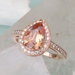 oval peach sapphire engagement rings style